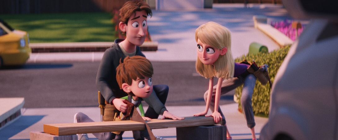 Nate Gardner voiced by ANTON STARKMAN, Sarah Gardner voiced by JENNIFER ANISTON and Henry Gardner voiced by TY BURRELL