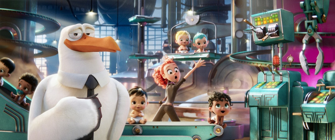 "KELSEY GRAMMER as Hunter and KATIE CROWN as Tulip in the new animated adventure ""STORKS,"" a Warner Bros. Pictures release. Photo courtesy of Warner Bros. Pictures"