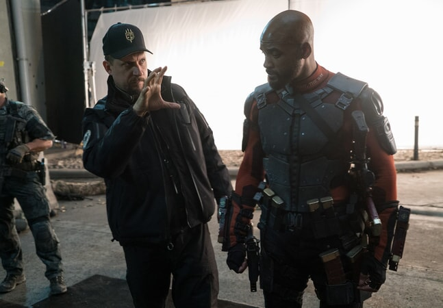 Writer/director DAVID AYER and WILL SMITH on the set
