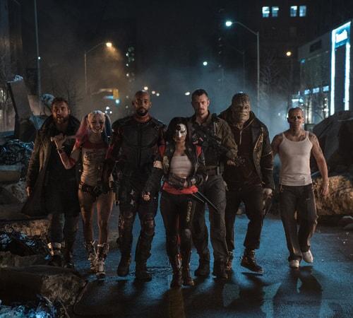 JAI COURTNEY as Boomerang, MARGOT ROBBIE as Harley Quinn, WILL SMITH as Deadshot, KAREN FUKUHARA as Katana, JOEL KINNAMAN as Rick Flag, ADEWALE AKINNUOYE-AGBAJE as Killer Croc and JAY HERNANDEZ as Diablo