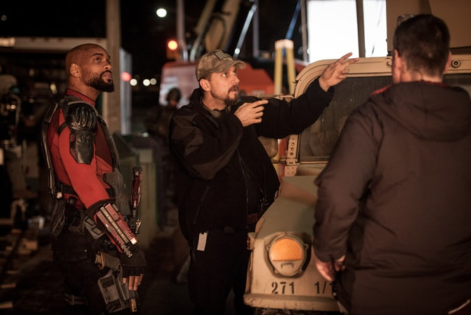 """WILL SMITH and writer/director DAVID AYER and on the set of Warner Bros. Pictures' action adventure """"SUICIDE SQUAD"""""""