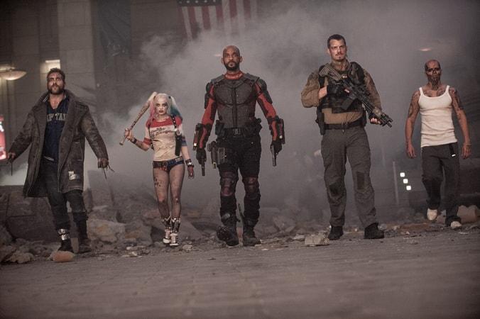 JAI COURTNEY as Boomerang, MARGOT ROBBIE as Harley Quinn, WILL SMITH as Deadshot, JOEL KINNAMAN as Rick Flag and JAY HERNANDEZ as Diablo