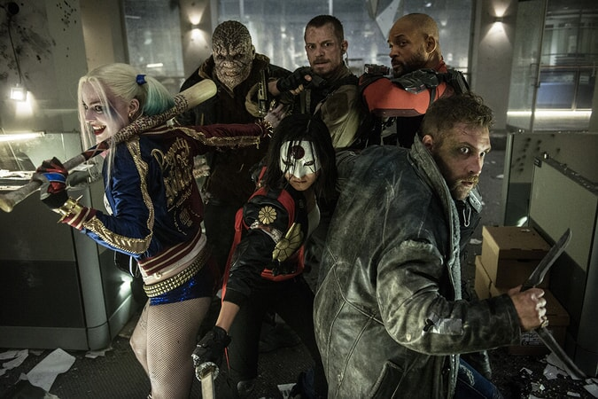 """MARGOT ROBBIE as Harley Quinn, ADEWALE AKINNUOYE-AGBAJE as Killer Croc, KAREN FUKUHARA as Kitana, JOEL KINNAMAN as Rick Flagg, JAI COURTNEY as Captain Boomerang and WILL SMITH as Deadshot in Warner Bros. Pictures' action adventure """"SUICIDE SQUAD,"""" a Warner Bros. Pictures release."""