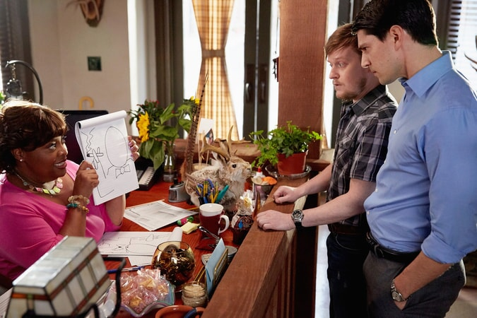 Nicholas D'Agosto, Sherri Shepherd, and Steven Boyer in Trial & Error