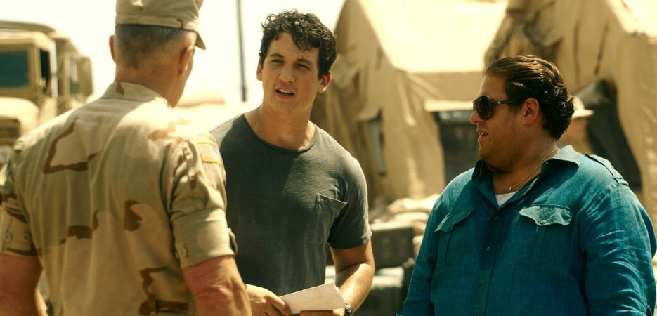 "MILES TELLER as David and JONAH HILL as Efraim in Warner Bros. Pictures' comedic drama (based on true events) ""WAR DOGS,"" a Warner Bros. Pictures release."