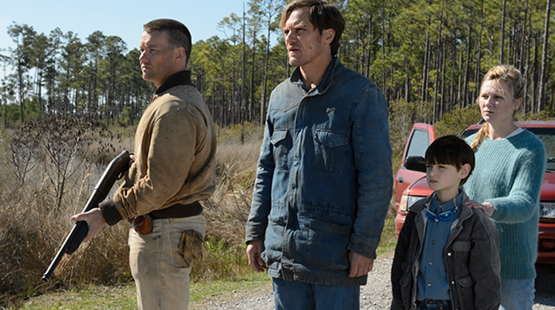 "JOEL EDGERTON as Lucas, MICHAEL SHANNON as Roy, JAEDEN LIEBERHER as Alton and KIRSTEN DUNST as Sarah in director Jeff Nichols' sci-fi thriller ""MIDNIGHT SPECIAL,"" a presentation of Warner Bros. Pictures in association with Faliro House Productions, released by Warner Bros. Pictures."