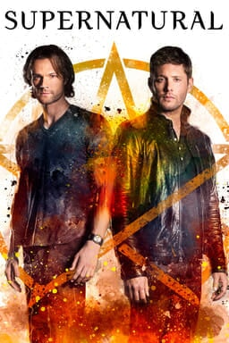 Poster for season 13 of Supernatural with Jared Padalecki and 	Jensen Ackles standing in front of paint splattered pentacle