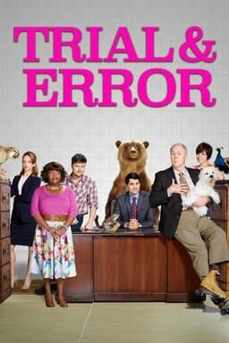 Trial & Error cast sitting and leaning on desk with show logo above